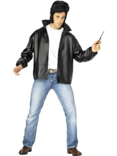 Smiffys Licenciado Oficialmente Cazadora de los T-Birds de Grease, Negra, con Logotipo Bordado