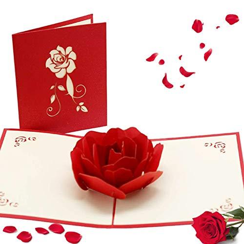3D Pop-Up-Grußkarten Geburtstag,silberhochzeit karte,geburtstagskarte liebe,Glückwunschkarte für frauen,Pop-Up Karte Rosa Rosen,Pop up Karte Geburtstagskarte,Wedding Card,Karte zum Valentinstag (B)