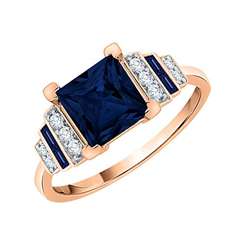 KATARINA Anillo de compromiso de diamantes y zafiro azul engastados en oro de 14 k (1 1/2 cttw, I-J, I1)