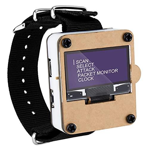 Seamuing WiFi Test Tool ESP8266 WiFi Deauther Uhr DSTIKE NodeMCU ESP8266 Programmierbare Entwicklungsplatine Eingebaute 500mAh Batterie mit OLED Display, Armband und 3D-Druckgehäuse