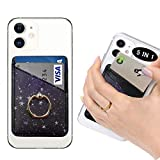 POLIFALL Leather Phone Card Holder (Star 2) 5 in 1 Stick On Wallet Sleeve Back - Double Pocket + Finger Ring Stand + Metal Plate for Magnet Mount + RFID Block for iPhone, Galaxy, Android, Mobile