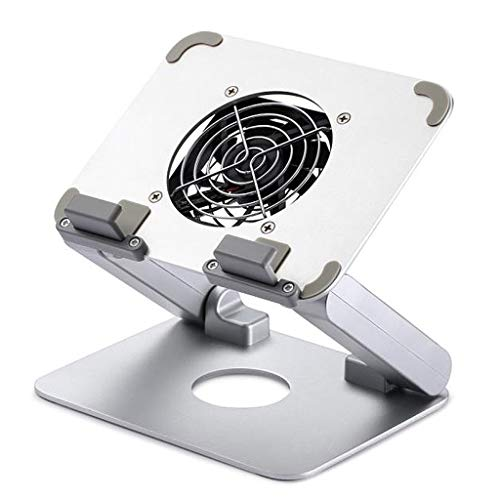YXCKG Laptop Cooling Stand in Aluminium Cooling Pad Laptop Tray Smartphone Stand Cell Phone Cooler USB Powered Fan With Metal Grid + Stable And Silent (Color : Silver)