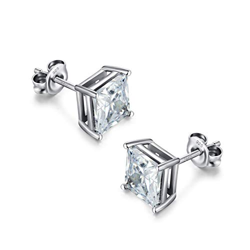 White Gold Plated Earrings Women Men Silver Stud Diamond Earrings Cubic Zirconia Square Earrings 925 Sterling Silver Stud Earrings 6mm