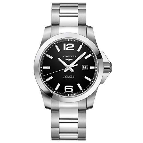 Longines orologio Conquest 43mm nero automatico acciaio L3.778.4.58.6