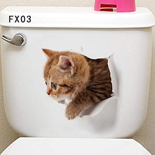 Levendige 3D Gat Kat Hond Dier Toilet Stickers Home Decoratie DIY Wc Wasruimte PVC Posters Kitten Puppy Cartoon Muurstickers 21 Fx03