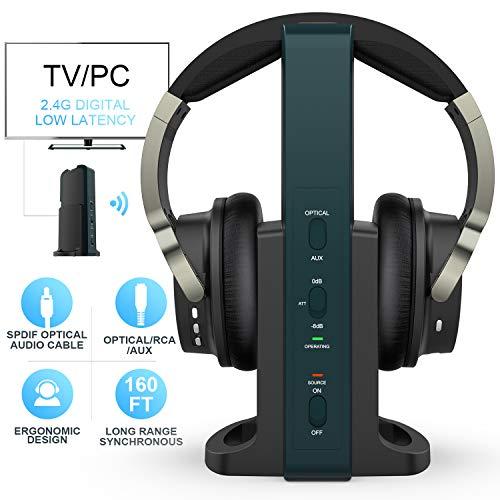Auriculares Inalambrico TV con 2.4GHz Transmisor y Port Optico,...