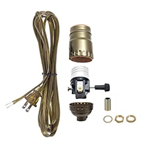 B&P Lamp Antique Brass Socket with Matching Cord Set and Basic Hardware