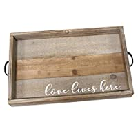 Stratton Home Decor Love Lives Here Wood Tray [並行輸入品]