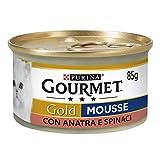 Purina Gourmet Gold Húmedo Gato Mousse con Pato y un Toque de Espinacas, 24 latas de 85 g Cada una de Las 24 Unidades de 85 g