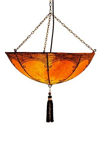 Oosterse lamp hanglamp Kadaj oranje 45 cm groot | Marokkaanse lederen lamp hennalamp lamp lamp met henna | Orient lampen voor woonkamer keuken of hangend boven de eettafel