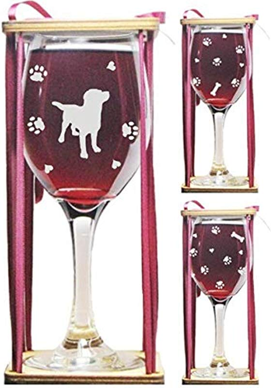 Dog Stemmed Wine Glass With Charm And Presentation Packaging