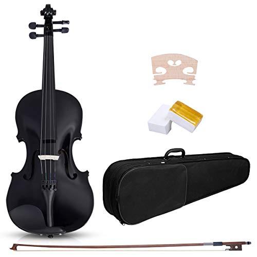 COSTWAY Geige Violinen Set 4/4 Koffer + Bogen + Zubehör Kolofonium Holz für Anfänger (Schwarze)