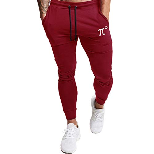 PIDOGYM Men's Slim Jogger Pants,Tapered Sweatpants for Training, Running,Workout with Elastic Bottom,Wine Red,Small