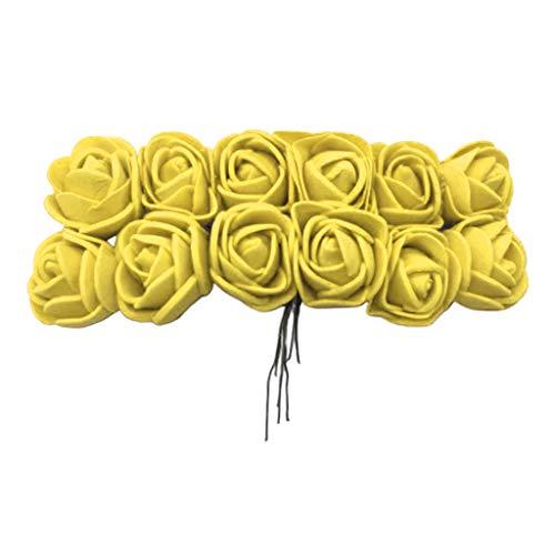 MERIGLARE Handgefertigte Schaum Gefälschte Rosenblüten Simulierte Rosenblütenköpfe mit Dämpfen - Gelb
