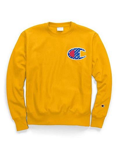 Champion LIFE Men's Reverse Weave Sweatshirt,C Gold/Left Chest 'C' Logo,MEDIUM