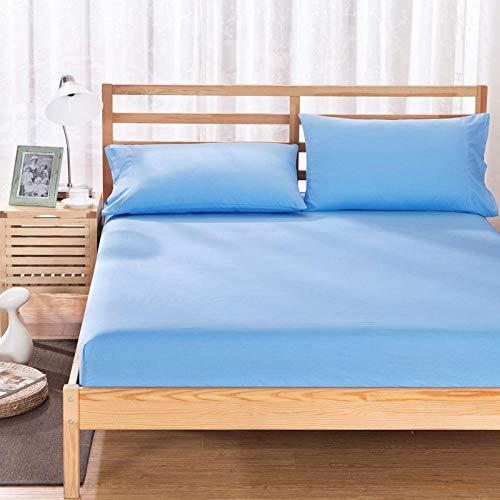 HPPSLT colchón Acolchado, antialérgico antiácaros, Funda Antideslizante para sábanas-Azul Cielo_150x200cm