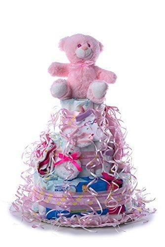 Tarta de pañales para bebé recién nacido. Un regalo original, incluyendo 55 pañales de la marca DODOT más peluche más calcetín más toallas DODOT más body más babero más toalla facial, ofrecido por Flores AVRIL