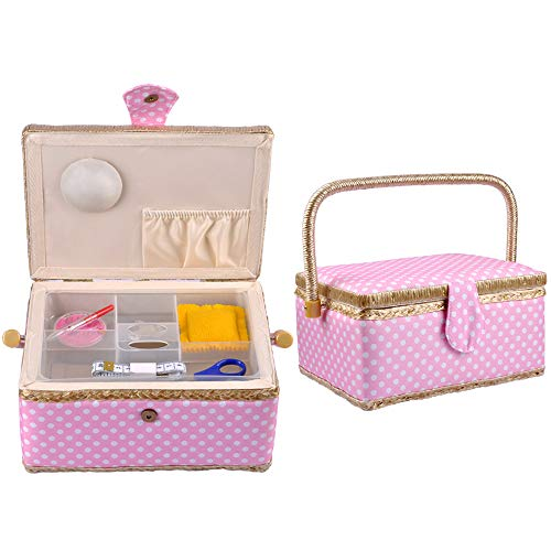 eZAKKA Sewing Basket with Sewing Kit Accessories Storage Sew Box Organizer for Beginner Adults Girl Gift, 9 x 7 x 5 inches