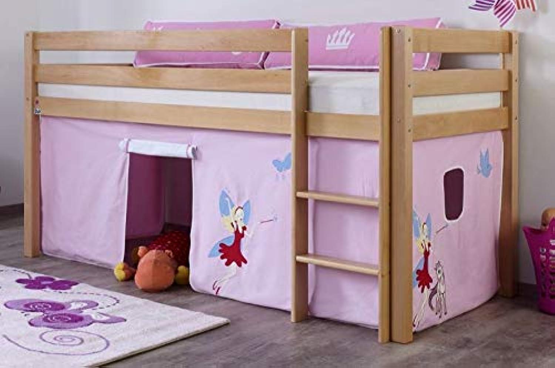 Froschknig24 Hochbett Alex Kinderbett Spielbett Bett Natur Stoffset Prinzessin, Matratze mit