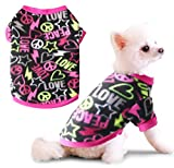 Idepet Pet Dog Cat Clothes Graffiti Style Soft Fleece Sweater Shirt Coat para Perros pequeños Puppy Teddy Chihuahua Poodle Boys Girls (L)