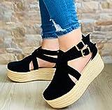 LYYJF Señoras Verano cuña Sandalia Hebilla Correa de Tobillo Peep Toe Zapatos de Plataforma Plana Mujer Sandalias de Plataforma Talla 35-43,Negro,40