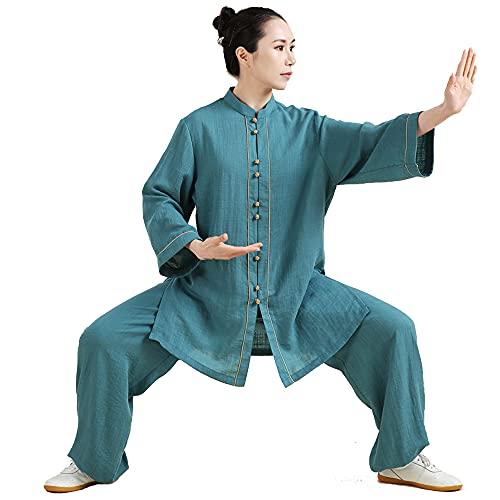 HENGX Tai Chi Ropa Mujer - Ropa Meditación Zen para Mujer Uniformes de Artes Marciales Chinas Lino de Algodón Mangas Largas Primavera Verano Gran Tamaño,Blue-Large