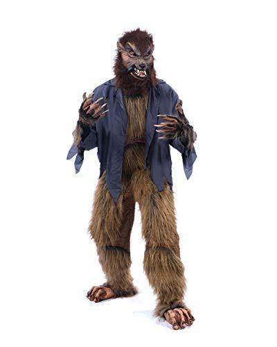 Zagone Studios Howl-O-Ween Werewolf Kostuum kit, met masker, Shirt, Broek, Handschoenen en voeten Bruin