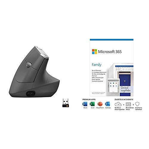 Logitech MX Vertical Ergonomische Kabellose Maus, Bluetooth und 2.4 GHz Verbindung vi + Microsoft 365 Family | 6 Nutzer | Box