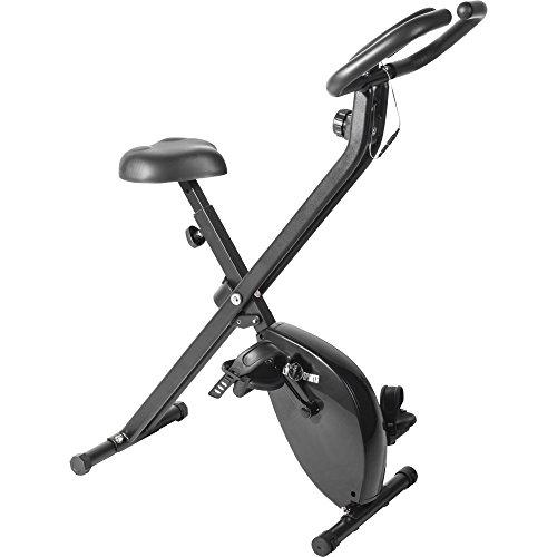 GORILLA SPORTS® Heimtrainer - Verstellbarer Sitz & Widerstand, klappbar, bis 100 kg, Schwarz - Ergometer, F-Bike, Fahrradtrainer, Hometrainer, Fitnessfahrrad, Fitnessbike