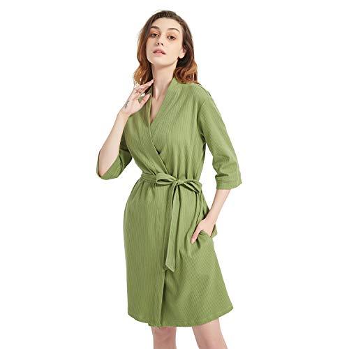 Godsen Woman's Cotton Casual Print Bathrobe Robe (S, Army Green)