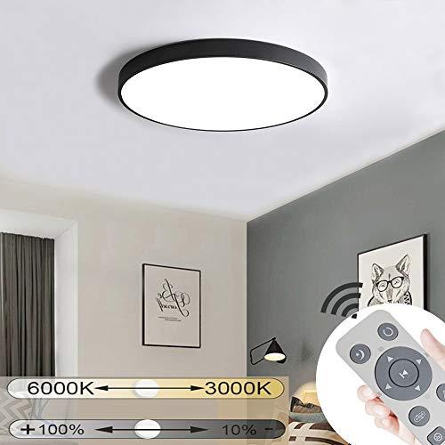 JINPIKER 60W Dimmbar LED Deckenleuchte Runde Einfach Deckenleuchten für Schlafzimmer Küche Flur Balkon Büro Wohnzimmer Deckenlampe Wandleuchte,Schwarz[Energieklasse A++]