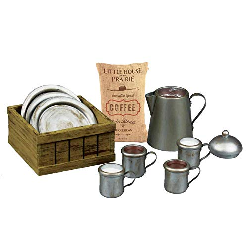 The Queens Treasures Little House on The Prairie 1880s Dishware Set, Coffee Pot, 2 Cups of Coffee, 2 Cups of Milk, 4 Plates, Coffee Sack and Crate, Accessories Compatible with American Girl Dolls