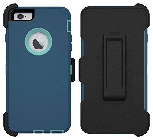iPhone 6 Plus Case, iPhone 6S Plus Case, ToughBox [Armor Series] [Shock Proof] [Deep Blue | Aqua] for Apple iPhone 6 Plus Case [With Holster & Belt Clip] [Fits OtterBox Defender Series Belt Clip]