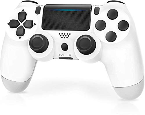 Kabelloser Game-Controller für PS4/Pro/Slim/PC, 800 mAh, wiederaufladbarer Akku, Game-Controller mit Dual-Vibration/Game-Joystick/Headset-Buchse/Sechsachsiger Sensor, PS4-Controller, kabellos (weiß)