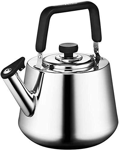 SHISHI Estufa Caldera de Acero Inoxidable Tetera de Gas doméstico Cocina de inducción Universal Silbato Caldera 4L Fácil de Limpiar y de Larga Vida útil.