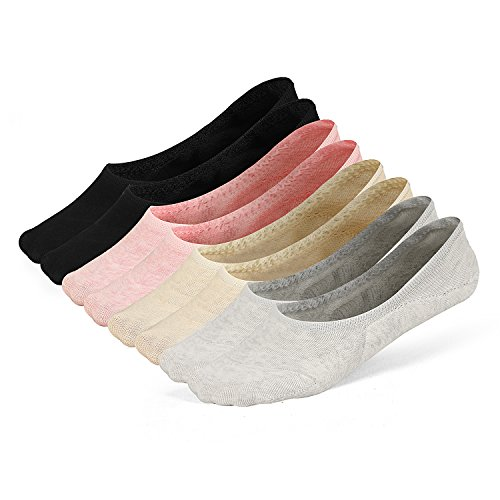 LAISOR Cotton No Show Sock Women's invisible Non Slip Flat Boat Liner Socks (B 8 pairs -4colors(2 pairs Per Each Color))