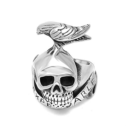 The Expendables Skull Crow Tattoo Ring Acero Titanio Pulsera De Hombre Anillo Accesorios De Regalo De Fiesta,8