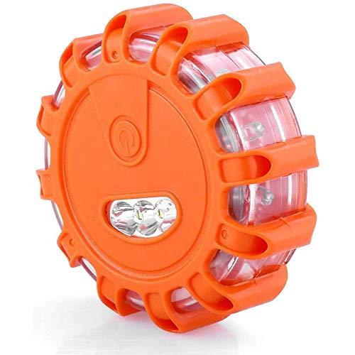 LED Emergencia Luz con Enganche y Base Magnética, Llamarada Carretera, Carretera LED Intermitente Lámpara SOS para el Coche, camión, Barco (Orange)