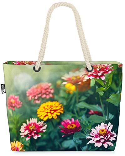 VOID Zinnien Blumen Strandtasche Shopper 58x38x16cm 23L XXL Einkaufstasche Tasche Reisetasche Beach Bag