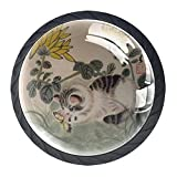 Perillas de gabinete de 4 piezas Perillas de tocador Perillas de cajón de cocinaarte chino gato Mango de cristal