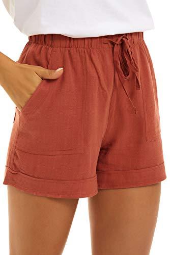 FANGJIN Damen Kordelzug Urlaub Outfits Bequeme Aufwärmen atmungsaktive Urlaubskleidung Große Größe Elasthan Boxershorts Leinenhose Sommer mit 4 Pocket Orange XL