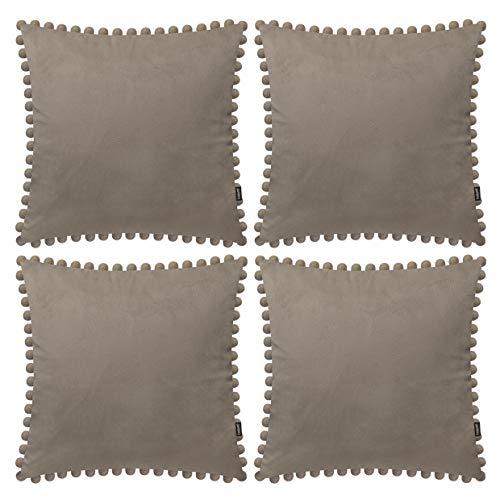 Set di 4 federe decorative per cuscini con pompon in velluto massiccio e federe per cuscini quadrati con palline per divano, casa, camera da letto, auto, color tortora, 45 x 45 cm