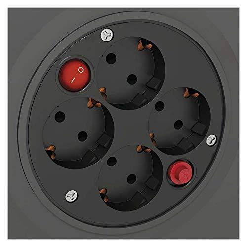 EMOS Enrouleur de câble avec Interrupteur - Câble de 50 m avec 4 Prises Schuko - 1,5 mm - Classe de Protection IP20