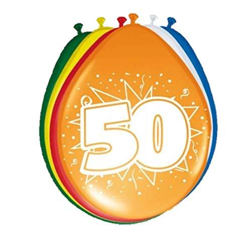 Folat 08250 50. Geburtstag Ballons 8 Stück, Mehrfarbig