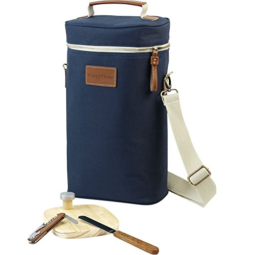 HappyPicnic 2 botellas de vino bolsa de vino, transportador de vino aislado, bolsa enfriadora de vino con kit de bolsa de picnic, sacacorchos, tapón de botella, tabla de queso de madera