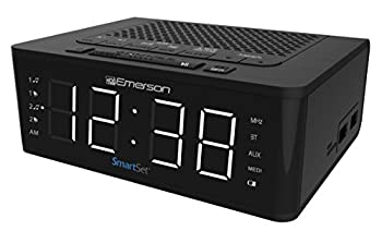 Emerson SmartSet Alarm Clock Radio with Bluetooth Speaker Charging Station with 2 USB Ports for Iphone/Ipad/Ipod/Android and Tablets ER100102