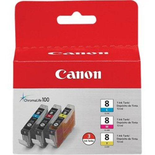 Canon CLI-8 3 Color Ink Tank Compatible to Pro9000, Pro9000 Mark II, iP6700D, iP6600D, iP5200R, iP5200, iP4200, iP4500, iP4300, iP3500 and  iP3300,