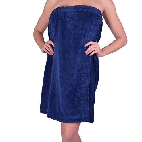 anatolian Women's Body WRAP Towel - 100% Cotton Adjustable Cover Up for Beach Spa Gym Bath Pool - Made in Turkey (Navy Blue, 1)
