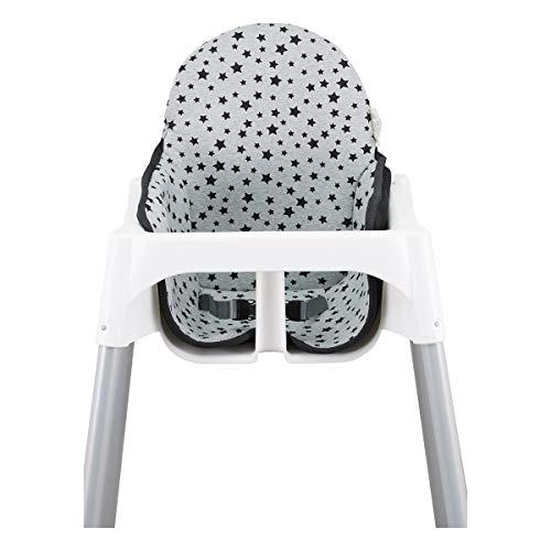 JANABEBE Colchoneta para trona antilop Ikea (Black Star)