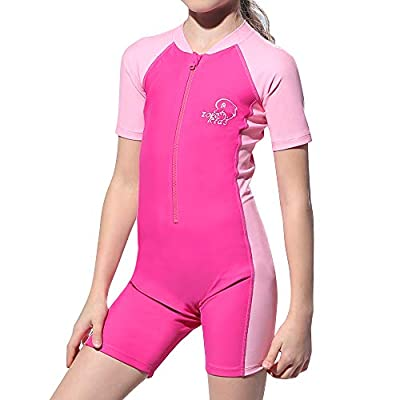 Karrack Girls and Boys One Piece Rash Guard Swimsuit Kid Water Sport Short Swimsuit UPF 50+ Sun Protection Bathing Suits Pink